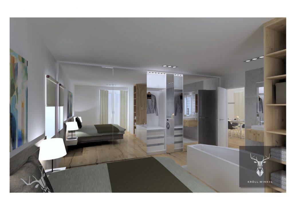 disign minimalistic master bedroom closet.