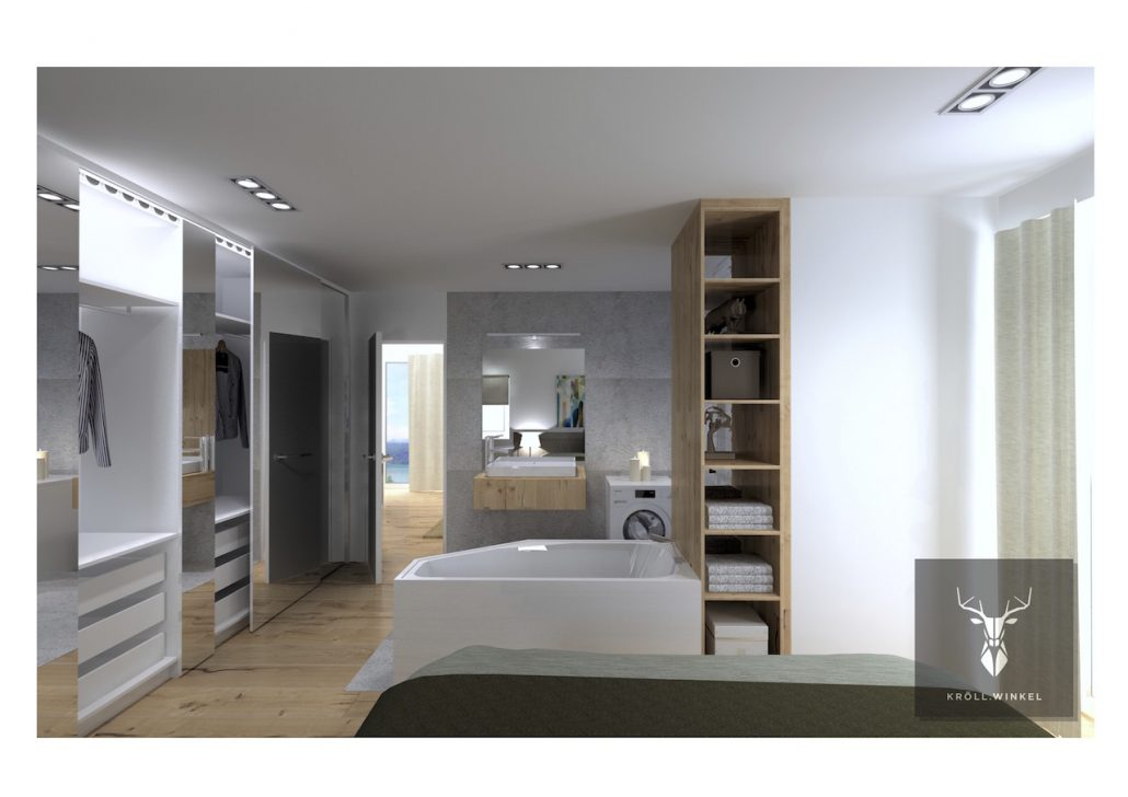 minimalistic master bedroom, bathroom and closet
