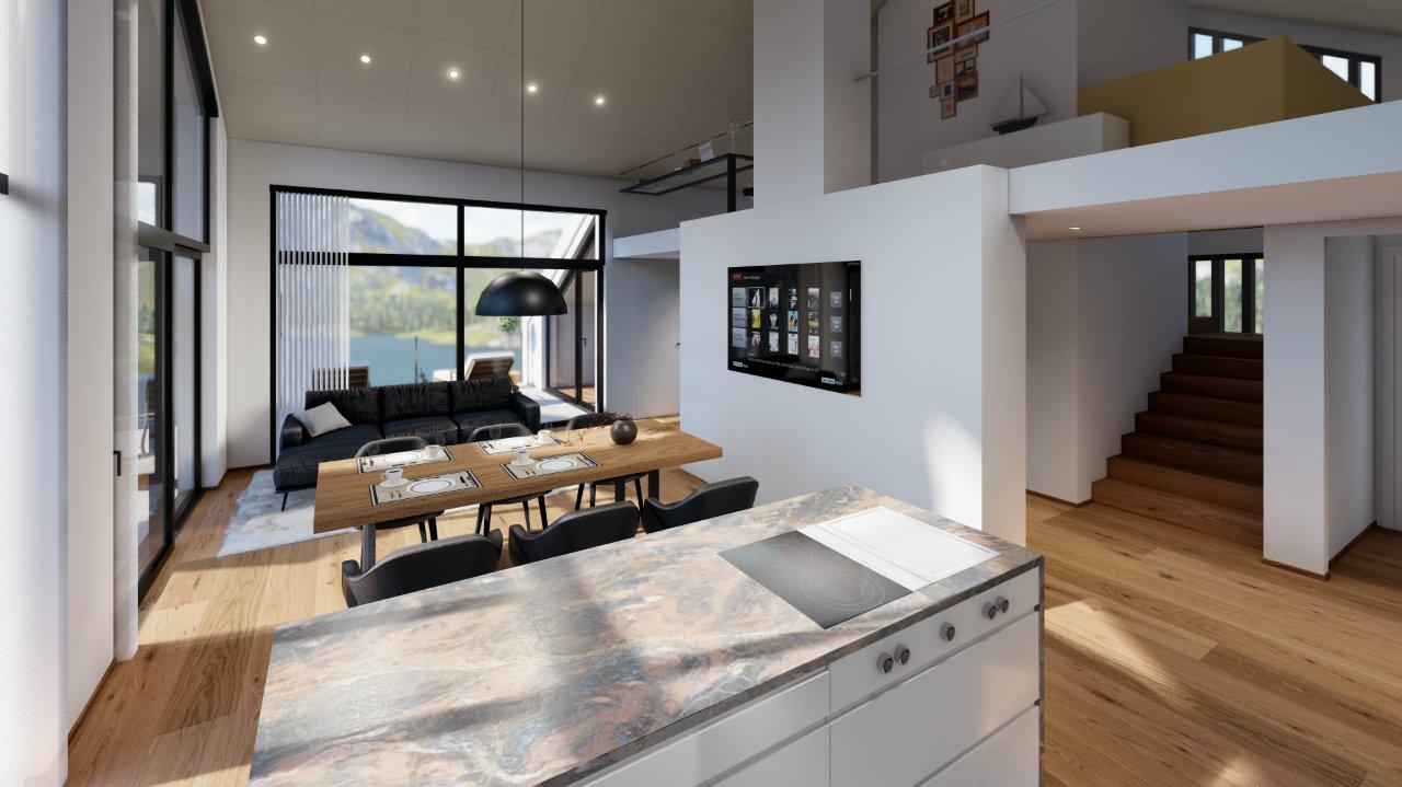 Design Esszimmer Kueche Penthouse luxurious