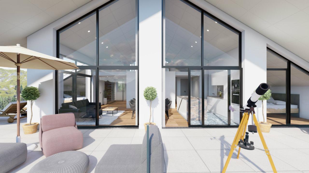 Design Ansicht Terrasse Penthouse Kroell Winkel