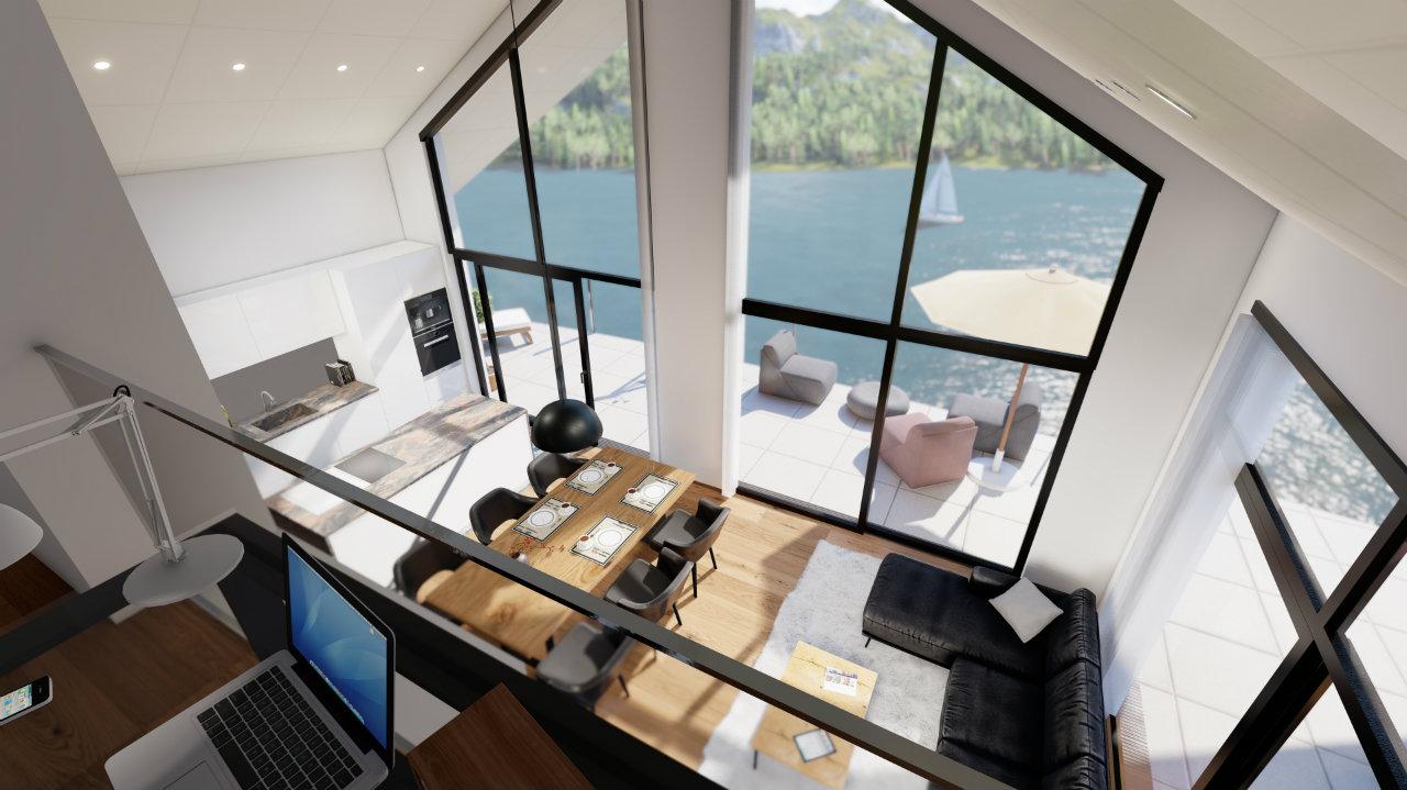 Design Ansicht Wohnzimmer Penthouse Kroell Winkel