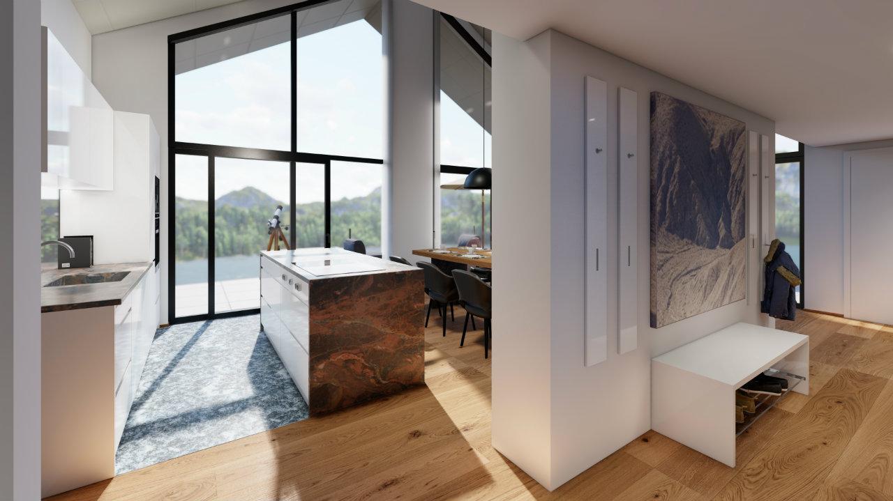 Design Halle Ansicht Wohnzimmer Penthouse Kroell Winkel