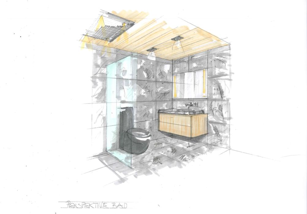 Design Zeichnung Villa Badezimmer
